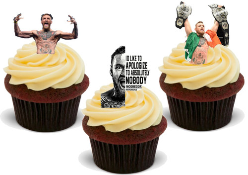 UFC Boxing Conor McGregor Irish  -  12 Edible Stand Up Premium Wafer Card Cake Toppers Decorations