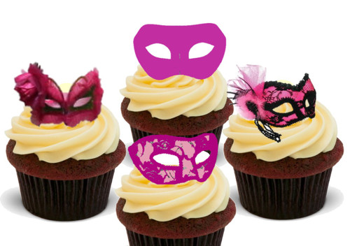 Deep Pink Masquerade Mask Mix -  12 Edible Stand Up Premium Wafer Card Cake Toppers Decorations