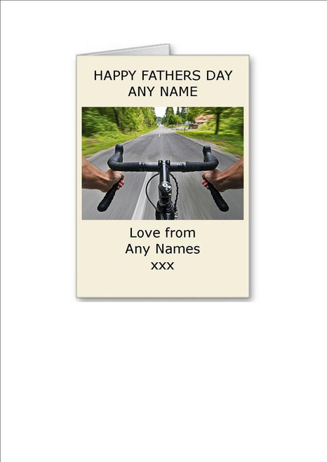 Happy Fathers Day   Cycling Handlebars Personalised Greeting Card - A5 White Greeting Card & Envelope