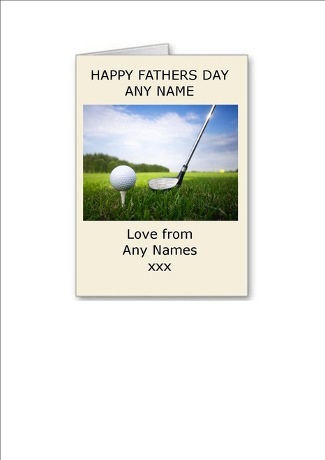 Happy Fathers Day  Golf  Personalised Greeting Card - A5 White Greeting Card & Envelope
