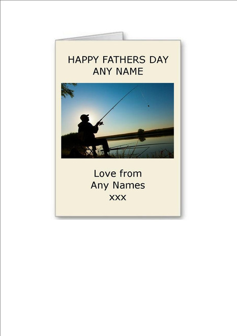 Happy Fathers Day Man Fishing Sunset Personalised Greeting Card - A5 White Greeting Card & Envelope