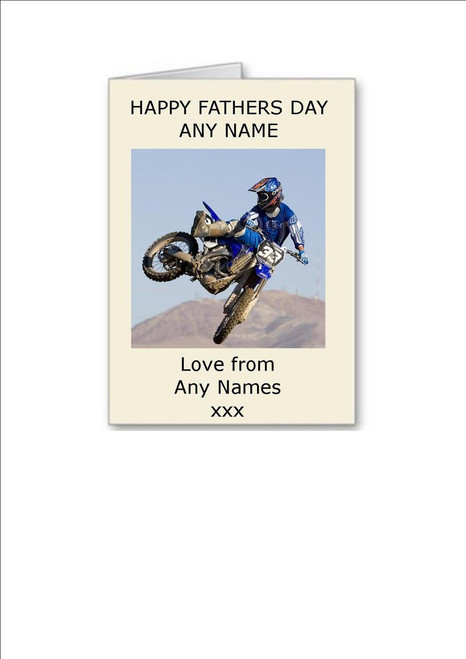 Happy Fathers Day Motocross Personalised Greeting Card - A5 White Greeting Card & Envelope