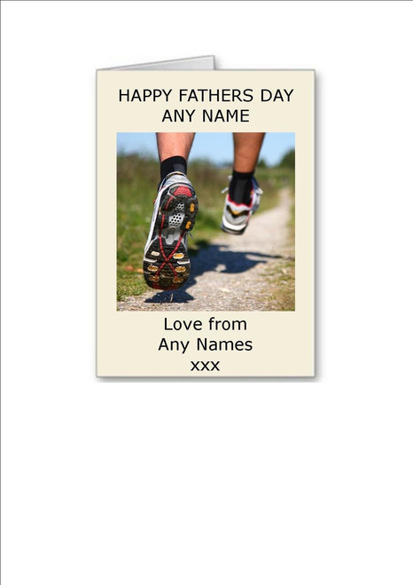 Happy Fathers Day  Running Male Feet Personalised Greeting Card - A5 White Greeting Card & Envelope