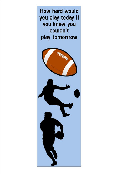 12  Pack   Rugby , Quote Bookmark     White 300gsm Card 20cm x 9.5cm