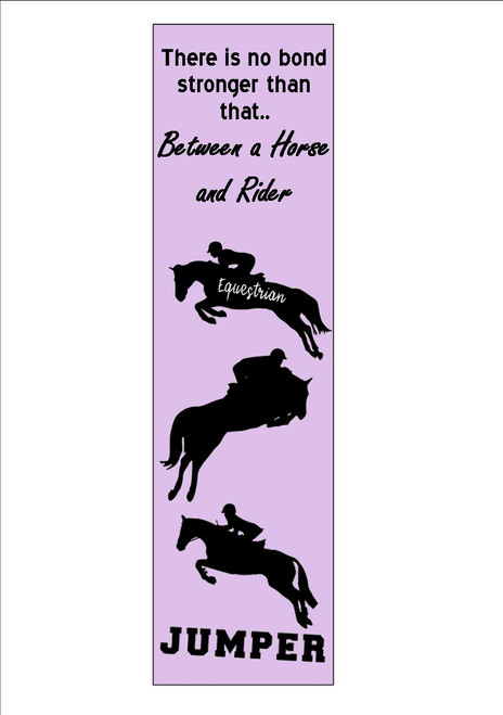 12  Pack    Show Jumping Horse Riding , Quote Bookmark   White 300gsm Card 20cm x 9.5cm