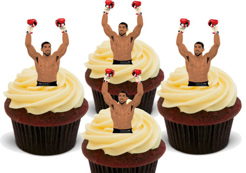 Anthony AJ Joshua Boxer   -  12 Edible Stand Up Premium Wafer Card Cake Toppers Decorations