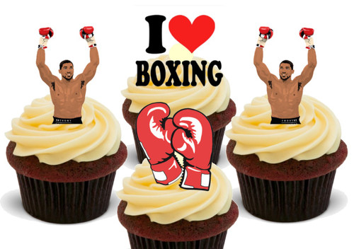 Anthony AJ Joshua Boxing Mix    -  12 Edible Stand Up Premium Wafer Card Cake Toppers Decorations