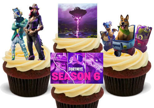 Fortnite Season 6 Mix  12 -  Edible Stand Up Premium Wafer Card Cake Toppers Decorations