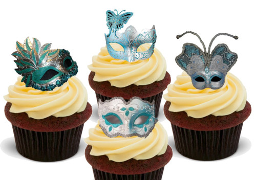 Teal and Silver Masquerade Ball Masks Mix  12 -  Edible Stand Up Premium Wafer Card Cake Toppers Decorations