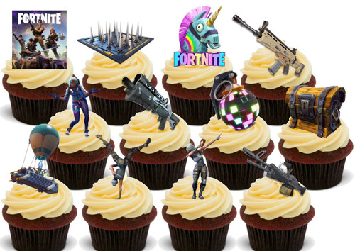 Fortnite Party 12 Mix B.  12 -   Edible Stand Up Premium Wafer Card Cake Toppers Decorations