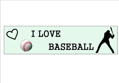 6 Pack    I LOVE BASEBALL  - Bookmark  White 300gsm Card 20cm x 9.5cm