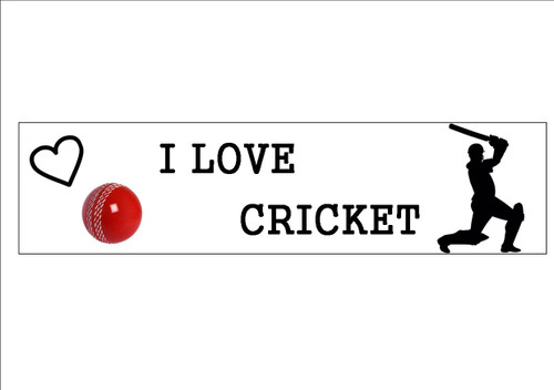 6 Pack I LOVE CRICKET  - Bookmark  White 300gsm Card 20cm x 9.5cm