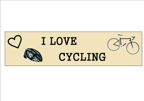 6 Pack  I LOVE CYCLING  - Bookmark  White 300gsm Card 20cm x 9.5cm