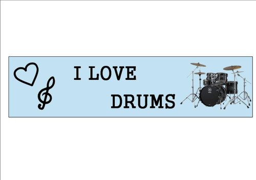 6 Pack  I LOVE DRUMS - Bookmark  White 300gsm Card 20cm x 9.5cm