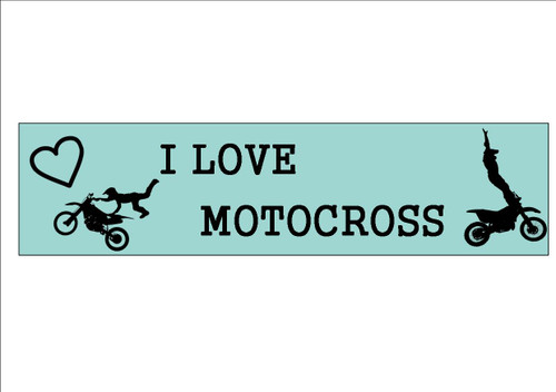 6 Pack  I LOVE MOTOCROSS  - Bookmark   White 300gsm Card 20cm x 9.5cm