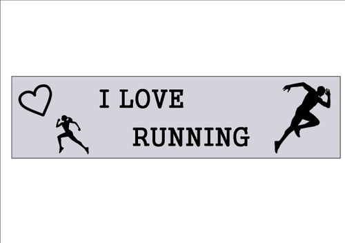 6 Pack   I LOVE RUNNING  - Bookmark  White 300gsm Card 20cm x 9.5cm