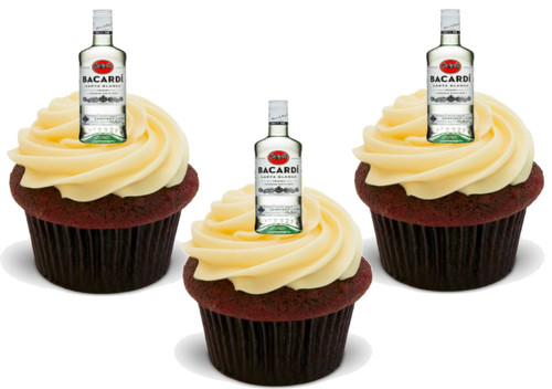12 x Bacardi White rum Bottles  Edible Stand Up Premium Wafer Card Cake Toppers Decorations
