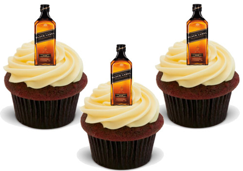 12 x Johnny Walker Black Label whisky bottles  Edible Stand Up Premium Wafer Card Cake Toppers Decorations