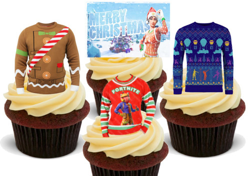 12 x Fortnite Christmas Jumper mix  Edible Stand Up Premium Wafer Card Cake Toppers Decorations