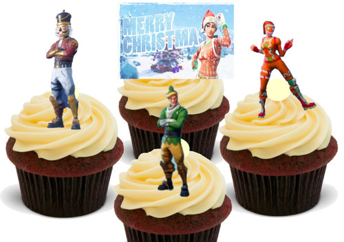 12 x  Merry Christmas Fortnite  Edible Stand Up Premium Wafer Card Cake Toppers Decorations