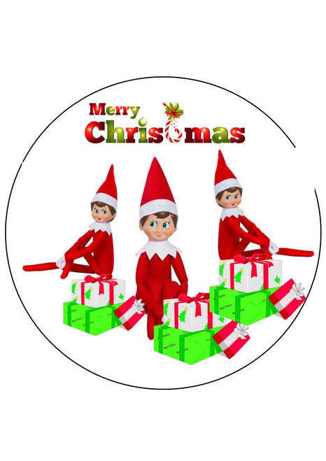 Merry Christmas Elf on the Shelf 8 inch round edible icing topper  Cake Toppers