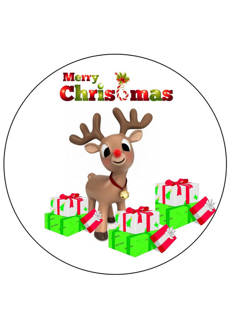 Merry Christmas Rudolph 8 inch round    edible icing topper  Cake Toppers