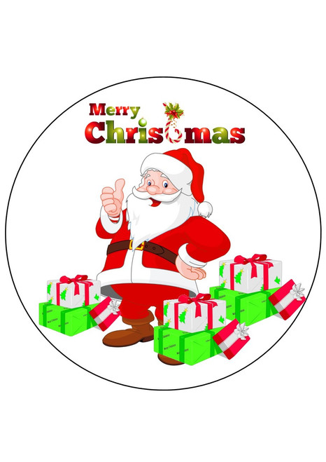 Merry Christmas Santa 8 inch round edible icing topper   Cake Toppers