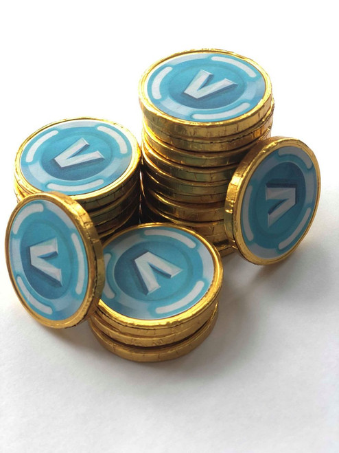 30 Fortnite inspired V Bucks Chocolate Coins Loose. Coins are 4cm with V Bucks on Both Sides. Ideal for Kids Party Bags Xmas Stocking Fillers Kids Game