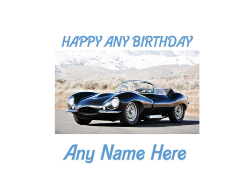 PERSONALISED HAPPY BIRTHDAY 50'S JAG CLASSIC CAR A4 EASY PEEL, PRECUT Edible Icing Cake Topper Birthday