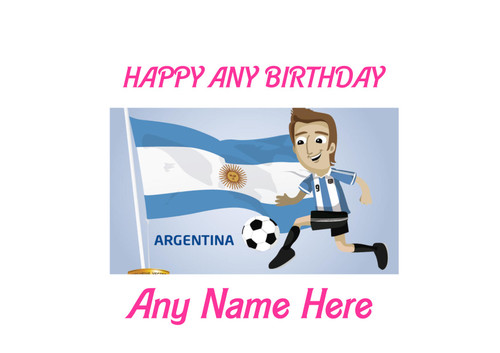 PERSONALISED HAPPY BIRTHDAY ARGENTINA CARTOON FOOTBALL A4 EASY PEEL, PRECUT Edible Icing Cake Topper Birthday