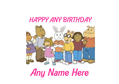PERSONALISED HAPPY BIRTHDAY ARTHUR KIDS CARTOON A4 EASY PEEL, PRECUT Edible Icing Cake Topper Birthday