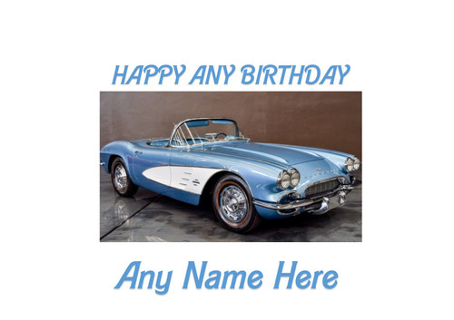 PERSONALISED HAPPY BIRTHDAY CHEVROLET EXECUTIVE CLASSIC CAR A4 EASY PEEL, PRECUT Edible Icing Cake Topper Birthday