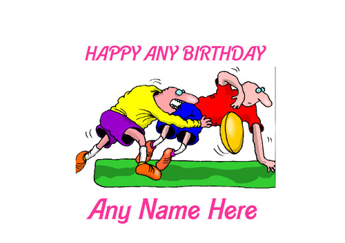 PERSONALISED HAPPY BIRTHDAY FUNNY RUGBY CARTOON A4 EASY PEEL, PRECUT Edible Icing Cake Topper Birthday
