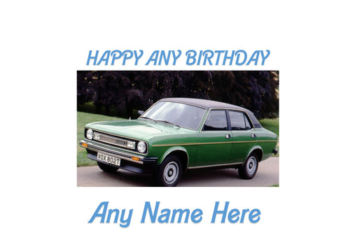 PERSONALISED HAPPY BIRTHDAY MORRIS MARINA GREEN CLASSIC CAR A4 EASY PEEL, PRECUT Edible Icing Cake Topper Birthday