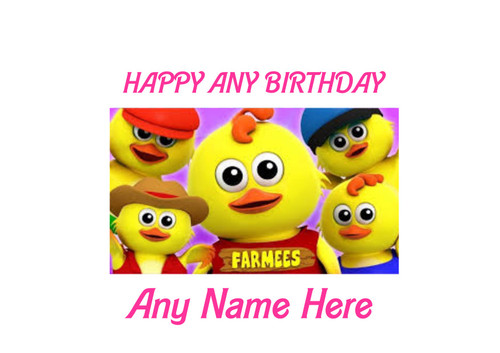PERSONALISED HAPPY BIRTHDAY OWLS CARTOON FARMEES A4 EASY PEEL, PRECUT Edible Icing Cake Topper Birthday