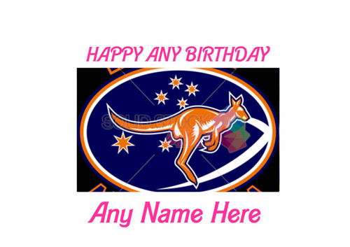 PERSONALISED HAPPY BIRTHDAY RUGBY AUSTRALIA KANGAOO A4 EASY PEEL, PRECUT Edible Icing Cake Topper Birthday