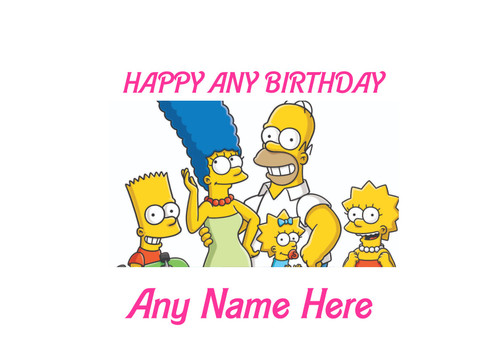 PERSONALISED HAPPY BIRTHDAY SIMPSONS FAMILY CARTOON A4 EASY PEEL, PRECUT Edible Icing Cake Topper Birthday