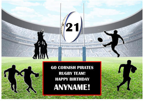 PERSONALISED CORNISH PIRATES RUGBY TEAM! A4 EASY PEEL, PRECUT Edible Icing Cake Topper Birthday