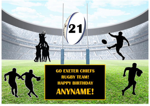 PERSONALISED EXETER CHIEFS RUGBY TEAM! A4 EASY PEEL, PRECUT Edible Icing Cake Topper Birthday