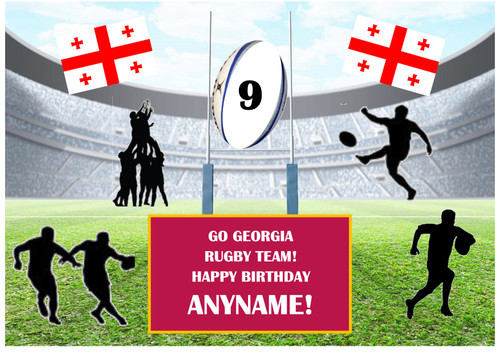 PERSONALISED GO GEORGIA RUGBY TEAM! A4 EASY PEEL, PRECUT Edible Icing Cake Topper Birthday