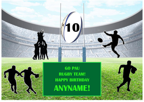PERSONALISED PAU RUGBY TEAM! A4 EASY PEEL, PRECUT Edible Icing Cake Topper Birthday