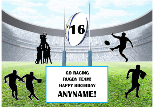 PERSONALISED RACING RUGBY TEAM! A4 EASY PEEL, PRECUT Edible Icing Cake Topper Birthday