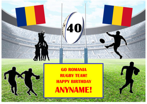 PERSONALISED ROMANIA RUGBY TEAM! A4 EASY PEEL, PRECUT Edible Icing Cake Topper Birthday