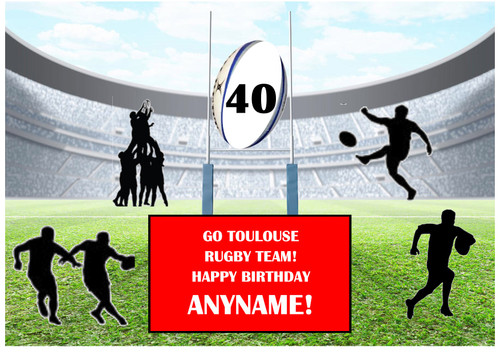 PERSONALISED TOULOUSE RUGBY TEAM! A4 EASY PEEL, PRECUT Edible Icing Cake Topper Birthday