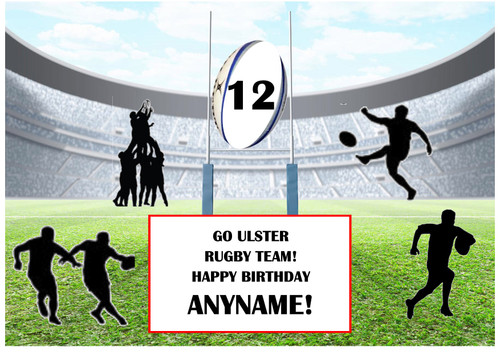 PERSONALISED ULSTER RUGBY TEAM! A4 EASY PEEL, PRECUT Edible Icing Cake Topper Birthday