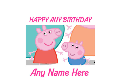PERSONALISED HAPPY BIRTHDAY PEPA PIG & BROTHER A4 EASY PEEL, PRECUT Edible Icing Cake Topper Birthday