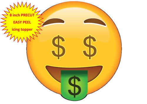 PERSONALISED EMOJI MONEY DOLLAR EYES FACE 8 inch Round EASY PEEL, PRECUT Edible Icing Cake Topper