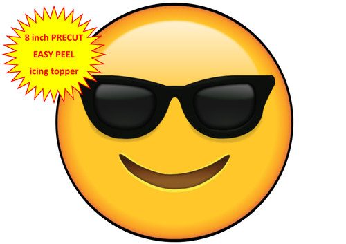 PERSONALISED EMOJI SUNGLASSES COOL FACE 8 inch Round EASY PEEL, PRECUT Edible Icing Cake Topper