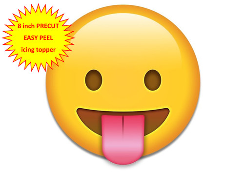 PERSONALISED EMOJI TONGUE OUT FACE 8 inch Round EASY PEEL, PRECUT Edible Icing Cake Topper