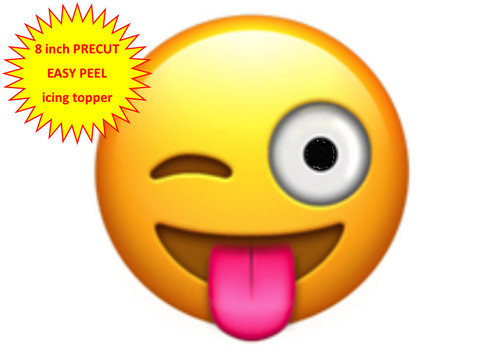 PERSONALISED EMOJI TONGUE OUT WINKING FACE 8 inch Round EASY PEEL, PRECUT Edible Icing Cake Topper